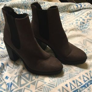 H&M brown suede combat boots
